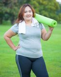 Pretty fat woman going to work out Stock Photos