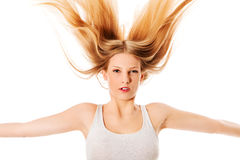 Pretty female with beautiful long blond hair Royalty Free Stock Photos