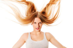 Pretty female with beautiful long blond hair Royalty Free Stock Photo