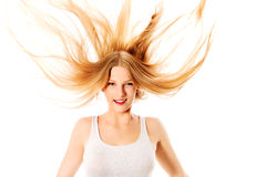 Pretty female with beautiful long blond hair Stock Photos