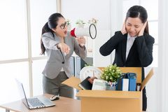 Pretty female boss speaking with business worker