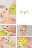 Pretty female with bunch or grapes collage Stock Photography