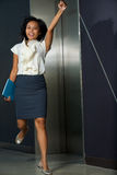 Pretty Female Businesswoman Jumping Excited Stock Photos