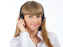 Pretty female call centre employee Royalty Free Stock Photos