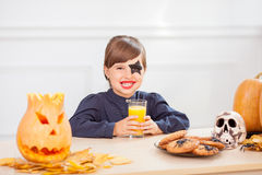 Pretty female child is enjoying food in Nut-Crack Royalty Free Stock Photography