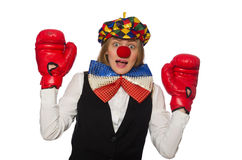 Pretty female clown with box gloves isolated on Royalty Free Stock Photo