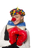 Pretty female clown with box gloves isolated on Stock Photography