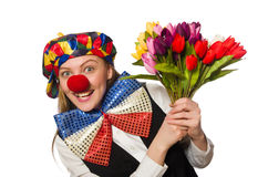 Pretty female clown with flowers isolated on white Stock Photography