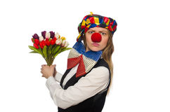 Pretty female clown with flowers isolated on white Stock Photos