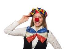 Pretty female clown isolated on white Stock Photos