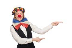 Pretty female clown isolated on white Stock Photo
