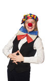 Pretty female clown isolated on white Stock Photography