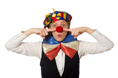 Pretty female clown isolated on white Stock Images