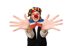 Pretty female clown isolated on white Royalty Free Stock Photos