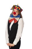 Pretty female clown isolated on white Royalty Free Stock Image