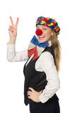 Pretty female clown isolated on white Stock Image