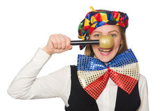 Pretty female clown with maracas isolated on white Royalty Free Stock Photo