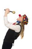 Pretty female clown with maracas isolated on white Stock Photos