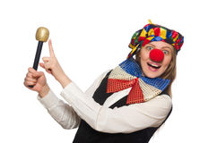 Pretty female clown with maracas isolated on white Stock Photography