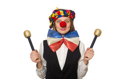 Pretty female clown with maracas isolated on white Royalty Free Stock Image