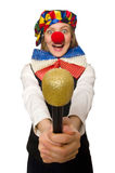 Pretty female clown with maracas isolated on white Royalty Free Stock Photos