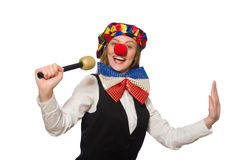 Pretty female clown with maracas isolated on white Stock Photo