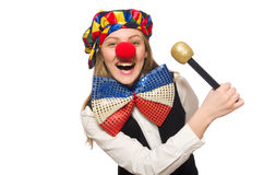 Pretty female clown with maracas isolated on white Stock Images