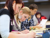 Pretty female college student  in a classroom Royalty Free Stock Images