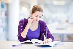 Pretty female college student in a library. (shallow DOF; color toned image Royalty Free Stock Image
