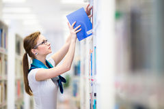 Pretty, female college student in a library Stock Photos
