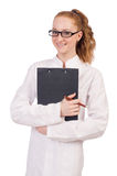 Pretty female doctor holding diary isolated on Stock Photography