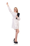 Pretty female doctor holding diary isolated on Stock Photos