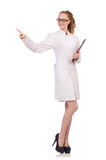 Pretty female doctor holding diary isolated on Stock Images