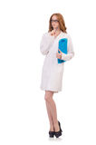 Pretty female doctor holding diary isolated on Royalty Free Stock Photos