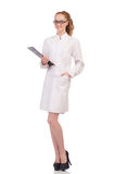 Pretty female doctor holding diary isolated on Stock Image