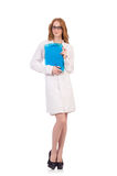 Pretty female doctor holding diary isolated on Royalty Free Stock Photo