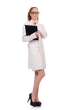 Pretty female doctor holding diary isolated on Royalty Free Stock Image