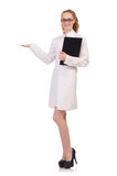 The pretty female doctor holding diary isolated on Stock Photos