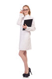 The pretty female doctor holding diary isolated on Royalty Free Stock Images