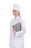 Pretty female doctor on white Stock Image