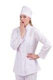 Pretty female doctor on white Stock Photo