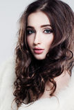 Pretty Female Face. Curly and Makeup Royalty Free Stock Photography