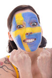 Pretty female fan from sweden is cheerfully Royalty Free Stock Photos