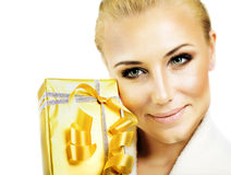 Pretty female with gift box stock photography