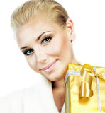 Pretty female with gift box Royalty Free Stock Photos