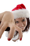 Pretty female with grabbing hand gesture Royalty Free Stock Image