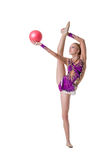 Pretty female gymnast with ball, isolated on white. Charming female gymnast with ball, isolated on white stock image