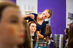 Pretty female hairdresser/haidressing apprentice Stock Photography