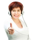 Pretty Female in  A Headset Stock Photos