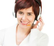 Pretty Female in  A Headset Stock Photo